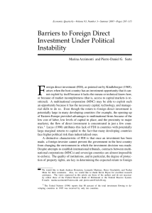 Barriers to Foreign Direct Investment Under Political Instability