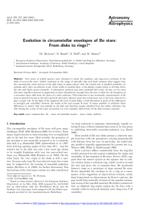 Evolution in circumstellar envelopes of Be stars: From disks to rings?