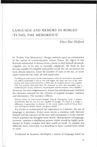 "Language and Memory in Borges` ""Funes, The Memorious"""