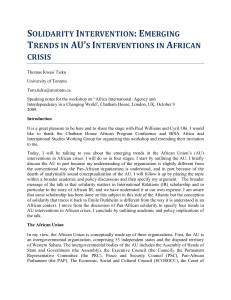 SOLIDARITY INTERVENTION: EMERGING TRENDS IN AU`S