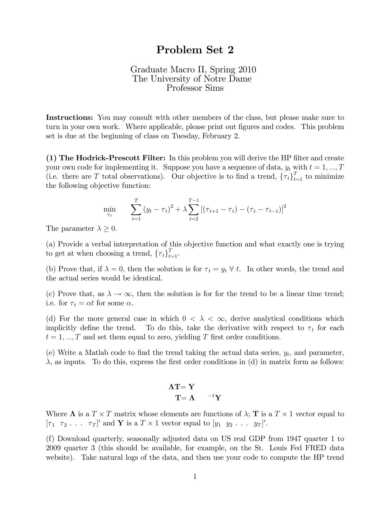 Problem Set 2 - University of Notre Dame