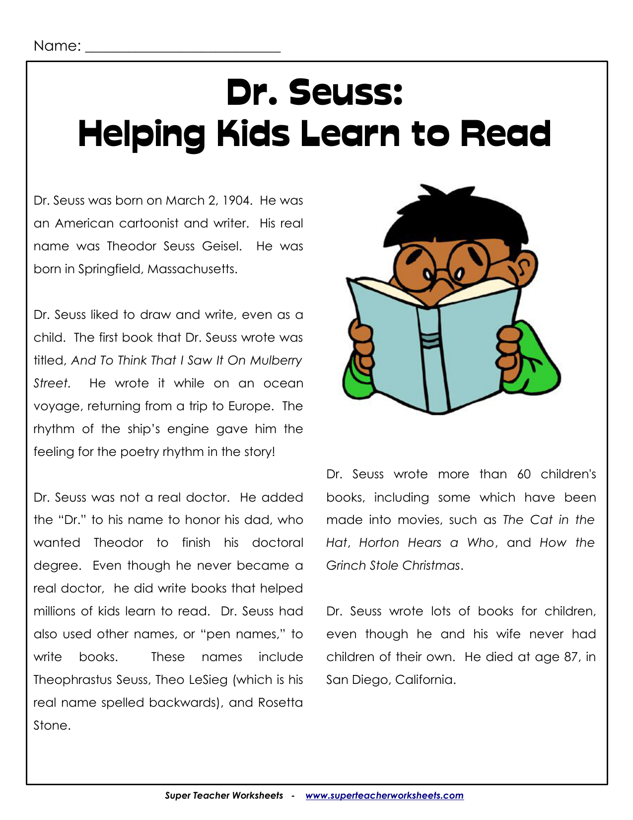 Dr Seuss Helping Kids Learn To Read