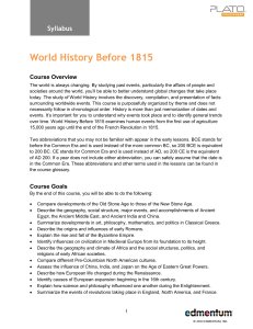 World History Before 1815 - Digital Learning Department