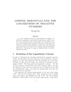 leibniz, bernoulli and the logarithms of negative numbers