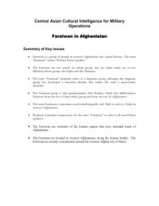 Central Asian Cultural Intelligence for Military Operations Farsiwan
