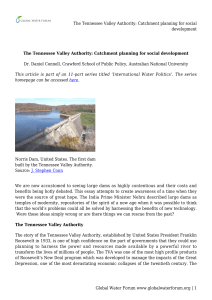 The Tennessee Valley Authority: Catchment planning for social