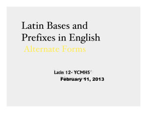 Latin Bases and Prefixes in English
