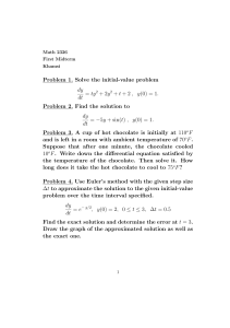 Problem 1. Solve the initial-value problem dy dt = ty2 + 2y2 + t + 2 , y