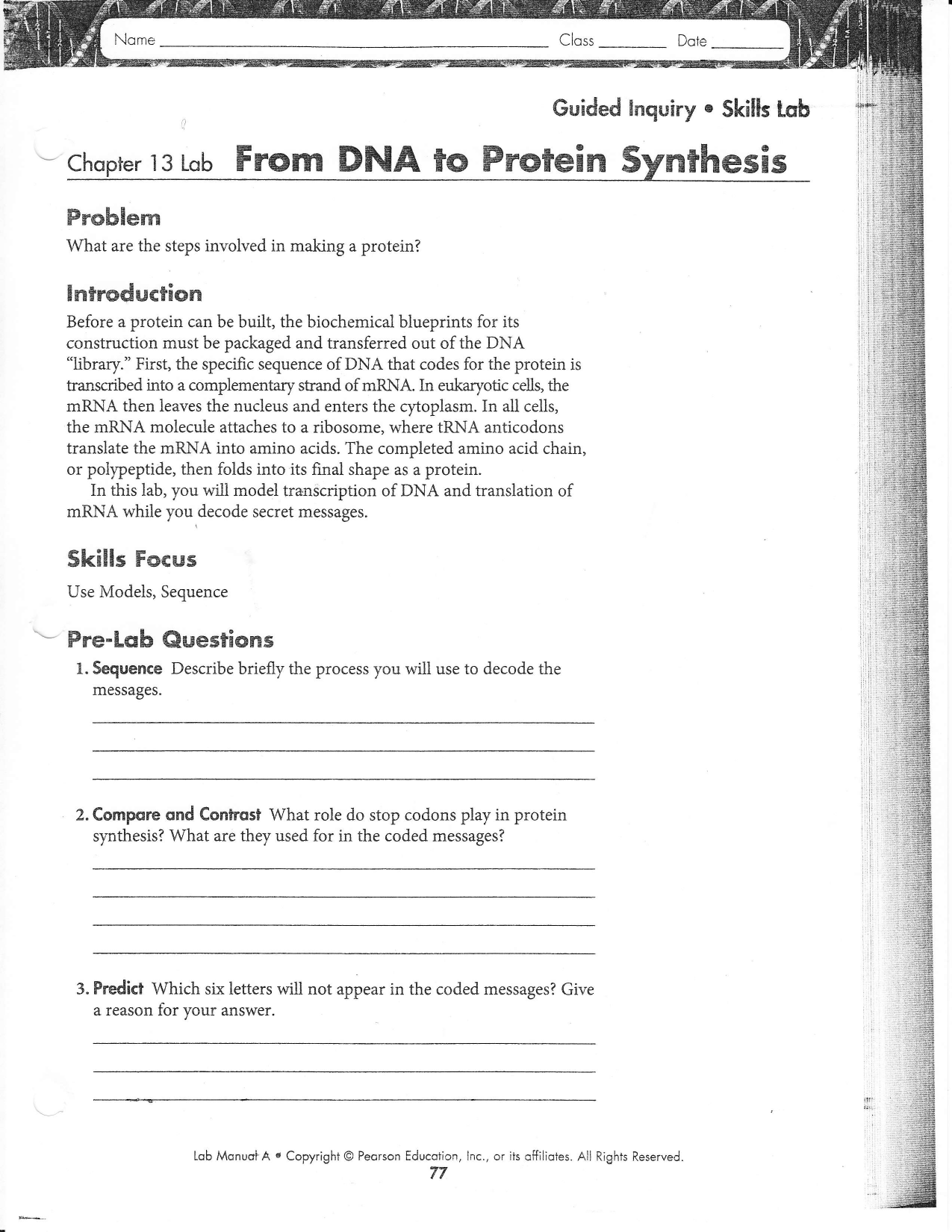 Protein Synthesis Worksheet Answers Part A - Nidecmege