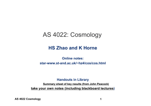 AS 4022: Cosmology - ASTRONOMY GROUP – University of St