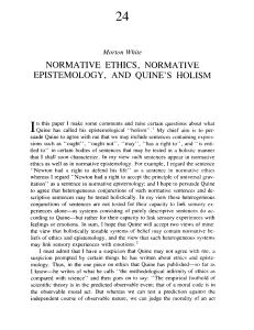 Normative Ethics, Normative Epistemology, and Quine`s Holism