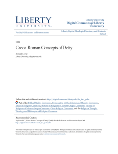 Greco-Roman Concepts of Deity - Digital Commons @ Liberty