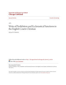 Writs of Prohibition and Ecclesiastical Sanctions in the English