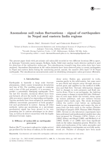 Anomalous soil radon fluctuations – signal of earthquakes in Nepal