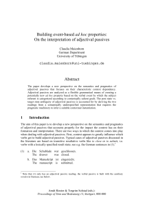 Building event-based ad hoc properties: On the