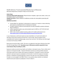 Health Advisory: Travel-associated Measles Case in Minnesota (PDF)