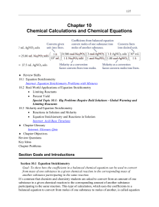 Study Guide Chapter 10: An Introduction to Chemistry