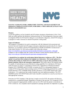 NYS/NYC Guidance for Laboratory Testing and Management of Persons-Under-Investigations, for Ebola Virus Disease (EVD) in Non-Designated Hospitals