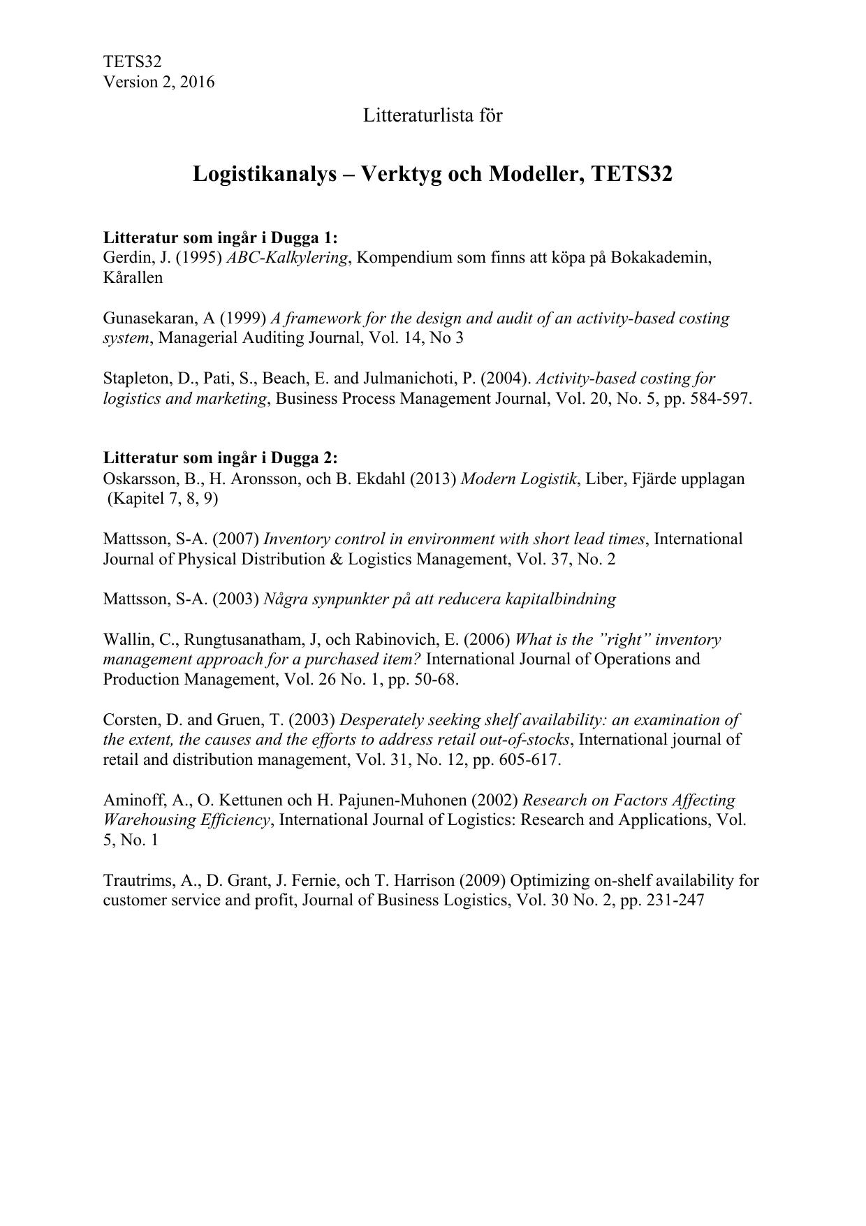 Litteraturlista 2016 version 2 pdf