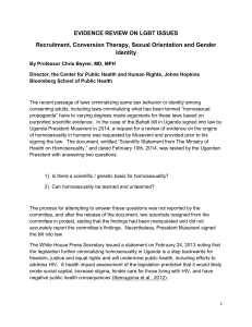 Evidence review on LGBT issues Recruitment, Conversion Therapy, Sexual Orientation and Gender Identity