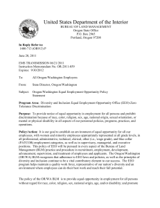 Oregon/Washington Equal Employment Opportunity Policy Statement