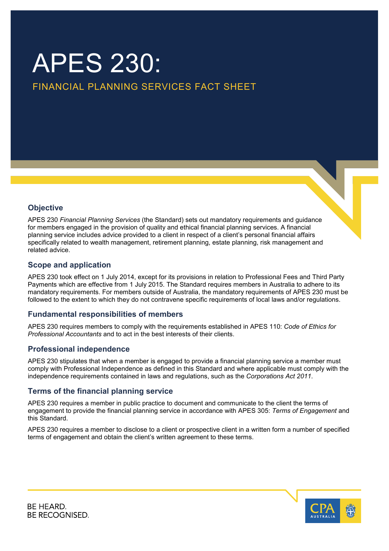 APES 230: Financial Planning Services Fact Sheet