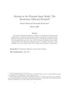 Altruism in the Principal-Agent Model: The Samaritan`s Dilemma