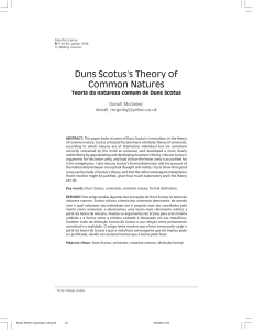 Duns Scotus`s Theory of Common Natures