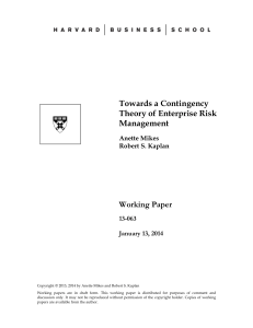 Towards a Contingency Theory of Enterprise Risk Management