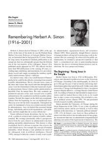 Remembering Herbert A. Simon (1916–2001)