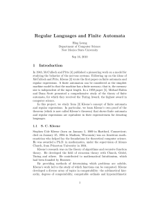 Regular Languages and Finite Automata