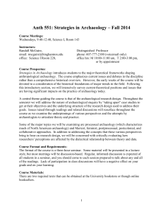 Anth 551: Strategies in Archaeology