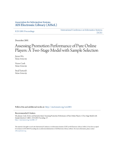 Assessing Promotion Performance of Pure Online Players: A Two