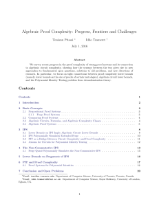Algebraic Proof Complexity: Progress, Frontiers and Challenges