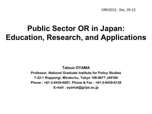 Public Sector OR in Japan: Education, Research, and Applications
