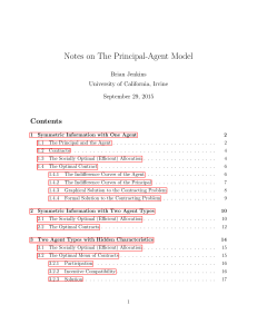 Notes on The Principal-Agent Model