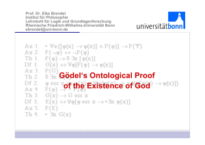 Gödel`s Ontological Proof of the Existence of God