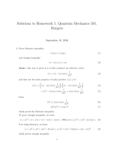 Solutions to Homework 1, Quantum Mechanics