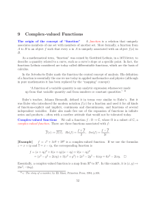 9 Complex-valued Functions