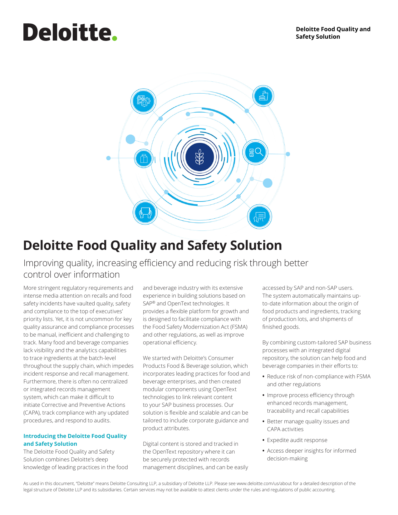 Deloitte Food Quality and Safety Solution