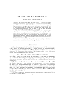THE EULER CLASS OF A SUBSET COMPLEX 1. Introduction Let G