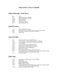 Political Science Classes in Subfields Political Philosophy
