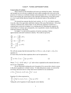 Chapter 11 * Potential Vorticity * Lee and Rossby Waves