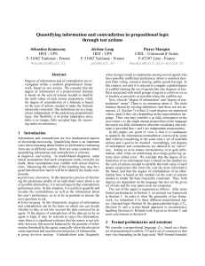 Quantifying information and contradiction in propositional logic