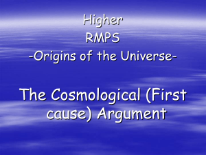 The Cosmological (First Cause) Argument
