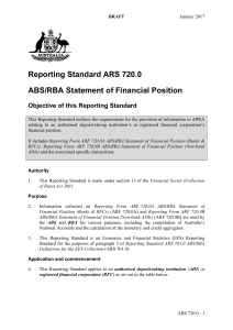Reporting Standard ARS 720.0 ABS/RBA Statement of