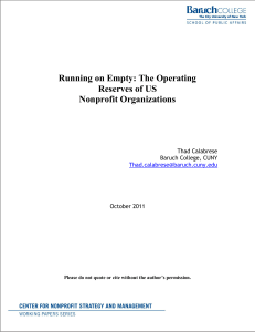Running on Empty: The Operating Reserves of US