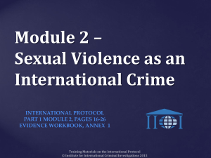 Module 2 * Sexual Violence as an International Crime