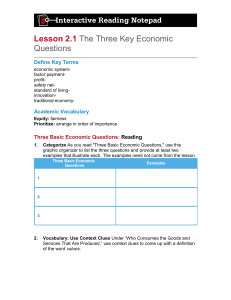 Three Basic Economic Questions: Reading