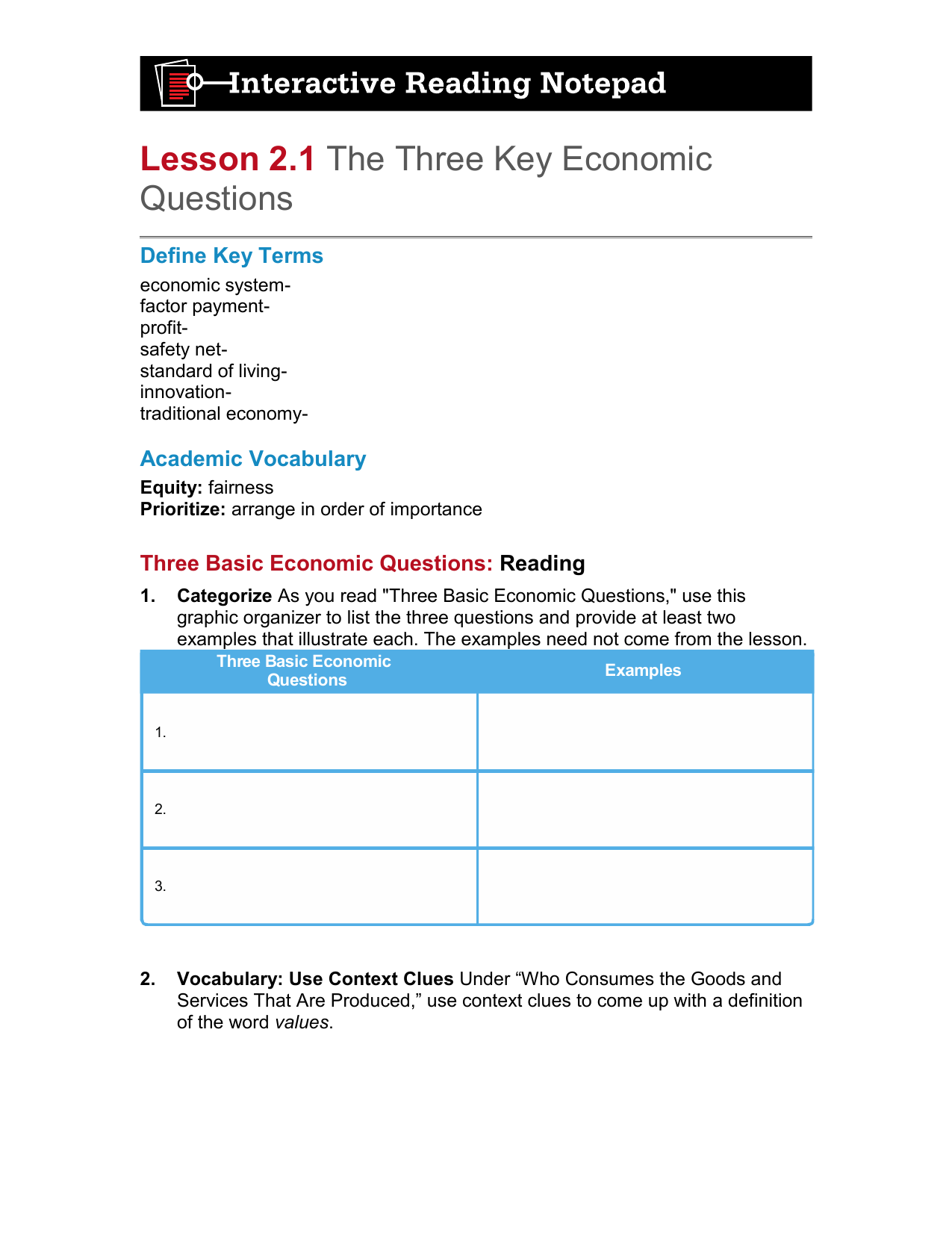 the three basic economic questions are